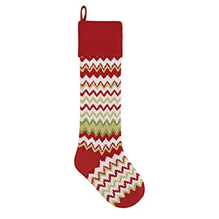 RED C/&F 6.5x27.5 Inches KNIT Christmas STOCKING