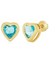 18k Gold Plated Light Blue Crystal Heart Screw Back Girls Children Earrings