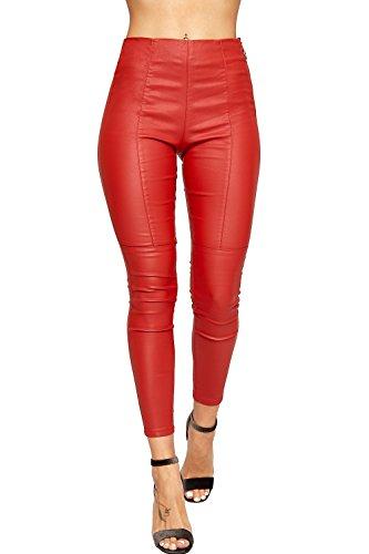 WEARALL - Femmes Pu Faux Cuir Humide Regardez Pantalon Dames Maigre Jambe Biker Jeans - 34-42 Rouge