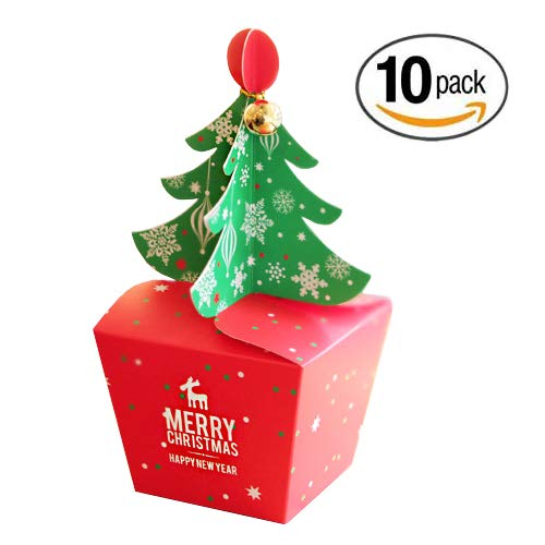 Christmas Tree Shaped Paper Candy Sweet Gift Boxes with Bell Trinket - 10-Pack - Large