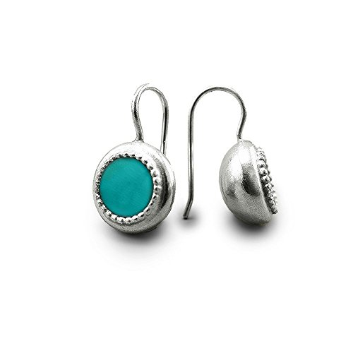 Handmade Earrings Silver Blue-Green Turquoise Semi-Precious Natural Stone Drop Earrings Bohemian December Birthstone Hypoallergenic Earrings For Women Sterling Silver boho jewelry native earrings by Chen Fuchs Jewelry