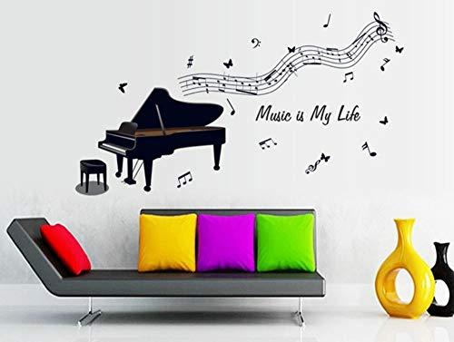 sansiwu Q Black Piano Note Wall Stickers Children's Room Kindergarten Background Decoration Removable Stickers]()