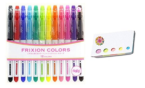 Pilot Frixion Erasable Coloring Pens 12 Pack with Sticky notes– Multi Colored Dry Erase Markers, Comfy Grip, Retractable Clip On Cap, Consistent Gel Formula – For Home, School, Students, Kids, Drawing by Pilot