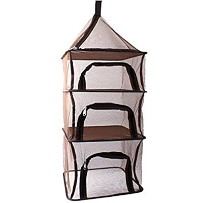IFLYING 3 Layer Hanging Mesh Dish Dryer for Outdoor Camping Foldable Dry Net Rack Shelf Storage Basket Picnic Tableware