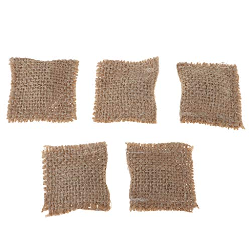 Prettyia 5 Set Handmade 1/12 Dollhouse Miniature Sofa Chair Accessories Woven Pillow Hessian Cloth
