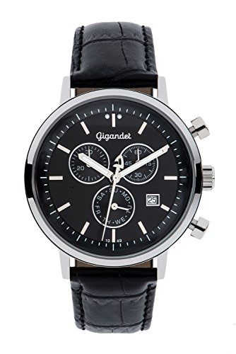 Gigandet Men's/Women's Quartz Watch Classico Chronograph Analog Leather Strap Black G6-004