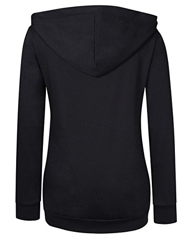 AMZ PLUS Women's Long Sleeve Button V-Neck Tunic Tops Pullover HoodiesBlack XL by AMZ PLUS (Image #1)