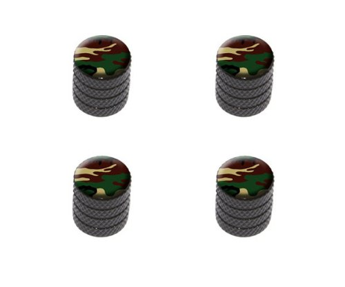 Camouflage Army Soldier Tire Rim Wheel Aluminum Valve Stem Caps - Black - Rim Camo