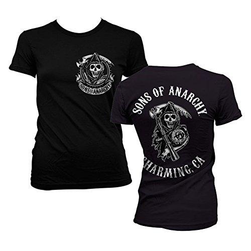 Officially Licensed Merchandise SOA Full CA Backprint Girly T-Shirt (Black), XX-Large