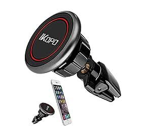 IKOPO Universal Magnetic Mini Air Vent Car Mount Holder Cradle for iPhone 7 7 Plus/ 6s Plus/6s/6, Samsung Galaxy S8 Edge S7 S6 Note 5, Nexus 6, & Smartphones(Black)