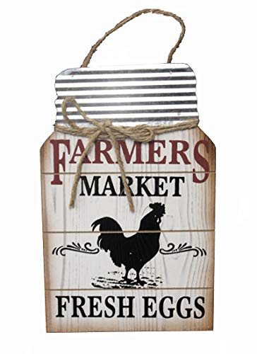 OBI Farmers Market Wooden Metal Hanging Sign - Barnyard Animal Mason Jar Shape Plaque - Farmhouse Country Primitive Home Wall Decor (Chicken) ()