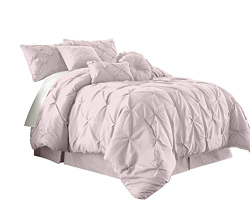 Bed Ensemble Full (Chezmoi Collection Sydney 7-Piece Pintuck Bedding Comforter Set (Full, Soft Pink))