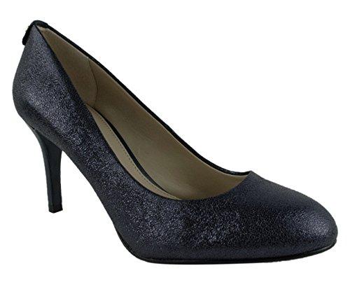 Michael Kors MK-Flex Womens Navy Sparkle Metallic Leather Mid Heel Pumps Size 8.5