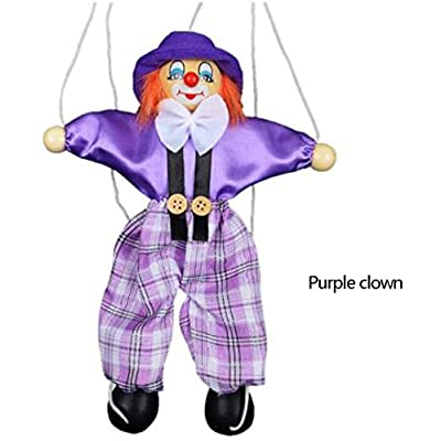Colorful Pull String Puppet Clown Wooden Marionette Handcraft Toys Joint Activity Doll Kids Children Gifts Random Color: Home & Kitchen