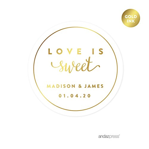 Andaz Press Personalized Round Circle Wedding Favor Gift Labels Stickers, Metallic Gold Ink, Love is Sweet, 40-Pack, Custom Made Any Name, Not Gold Foil, Decorations, Invitations -