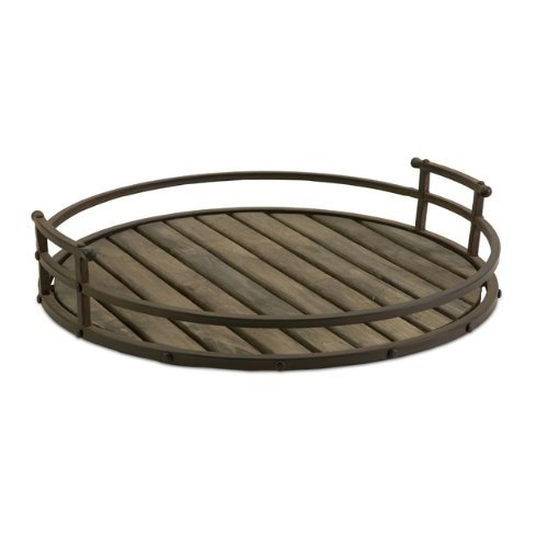 IMAX Vermont Iron and Wood Tray - Round Tray for Serving, Decorating - Large Rustic Storage Tray. Kitchen and Dining ()