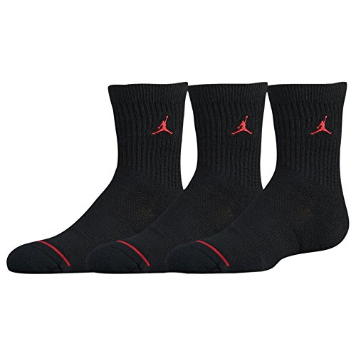 NIKE AIR JORDAN JUMPMAN CREW SOCKS - BOYS' GRADE SCHOOL (5-7 (Shoe 10C-3Y), Black) by NIKE