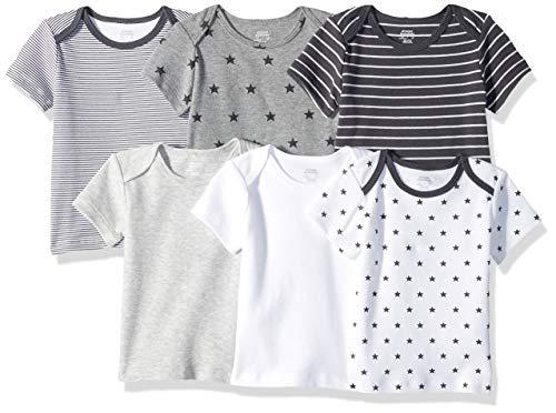 Amazon Essentials Baby 6-Pack Lap-Shoulder Tee, Uni Star Stripe Neutral, 18M