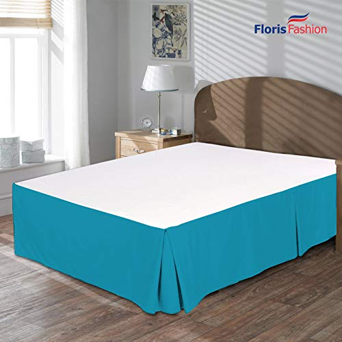 Blue Denim Full Bedskirt - Floris Fashion Full XL Premium Egyptian Cotton Turquoise Blue Solid Box Pleated Styling Classic Tailored Bedskirt Solid with Split Corners 13