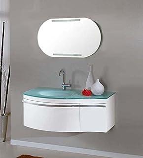 Mobile Bagno Lavabo Decentrato.Mobile Arredo Bagno Asia2 Cm 90 Sospeso Laccato Lucido Con