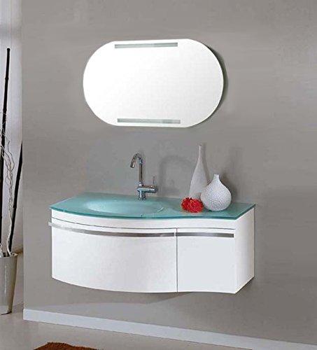Mobile Arredo bagno cm 100 sospeso con lavabo in cristallo verde e ...