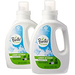 Amazon Brand - Presto! 96% Biobased Concentrated Liquid Laundry Detergent, Fragrance Free, 106 Loads (2-pack, 40oz/53 loads each)