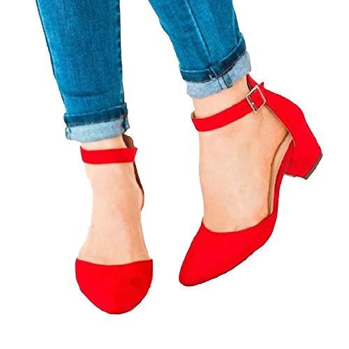 Womens Heeled Ankle Buckle Block Pointed Toe Cut Out Pumps Sandals (7 B(M) US, 1-Red) (Womens Sexy Shoe Chunky Heel)