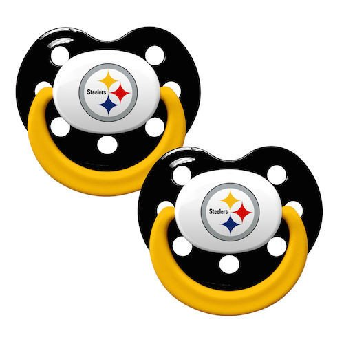 NFL 2 Pack Baby Pacifiers [Set of 2] NFL Team: Pittsburgh Steelers from Baby fanatic