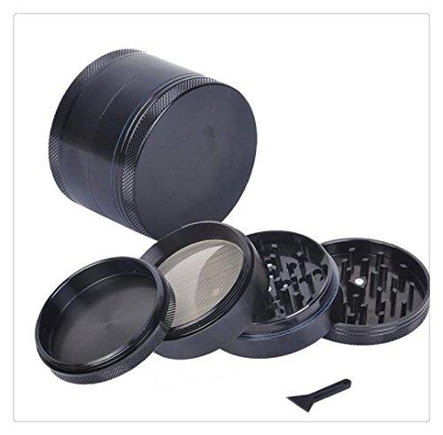 Price comparison product image Buedvo New 4-layer Aluminum Herbal Herb Tobacco Grinder Smoke Grinders (Black)