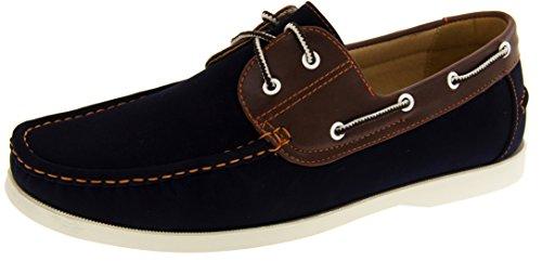 Shoreside Hombre cuero de imitación zapatos del barco Azul Marino (suela Blanca)
