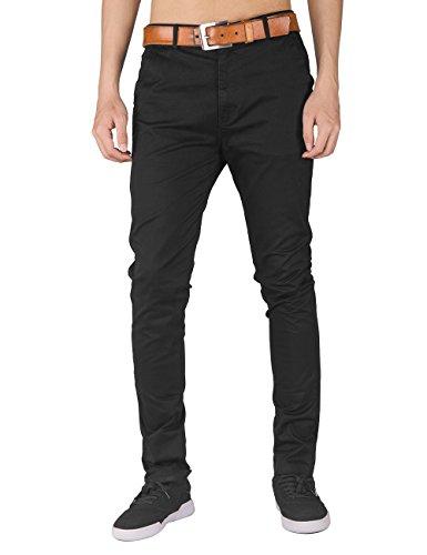 Italy Morn Men Chino Pants Khaki Slim Fit Stretch Cotton Twill Fabric Trousers S Black