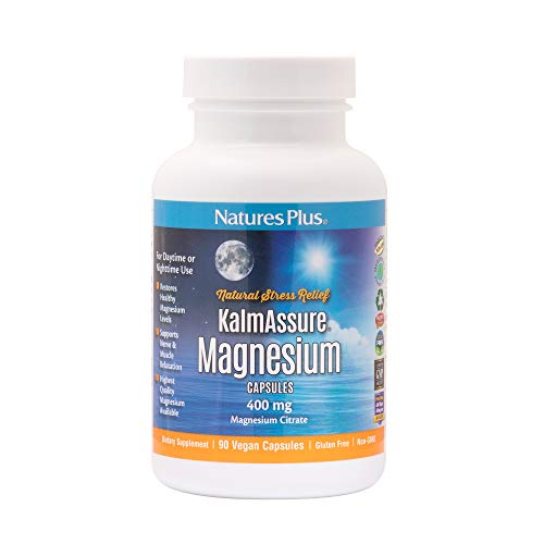 Natures Plus Kalmassure – 400 mg Magnesium, 90 Vegan Capsules – High Quality Natural Stress Relief Supplement, Supports Nerve and Muscle Relaxation – Vegetarian, Gluten-Free – 30 Servings