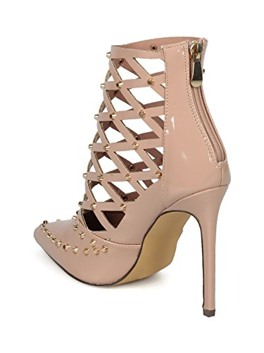 Alrisco Women Studded Pointy Toe Caged Cut Out Stiletto Bootie Pump HF45 - Nude Patent (Size: 6.0) by Alrisco (Image #2)