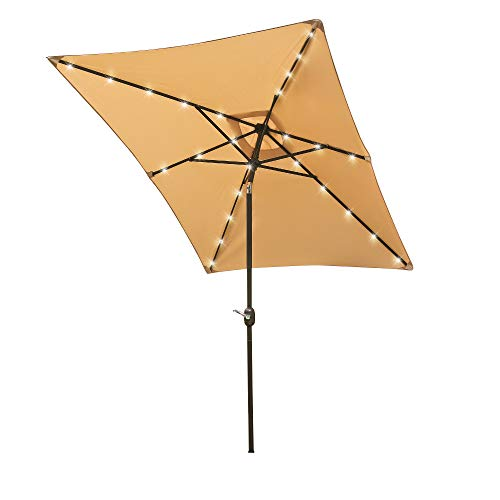 Aok Garden 9ft x 6ft Duluxe Tilting Solar LED Lighted Antique Brown Finish Market Outdoor Umbrella W/Crank System and tilt Function with Heavy Duty 220g Polyester PA Coating Sunshade Sand