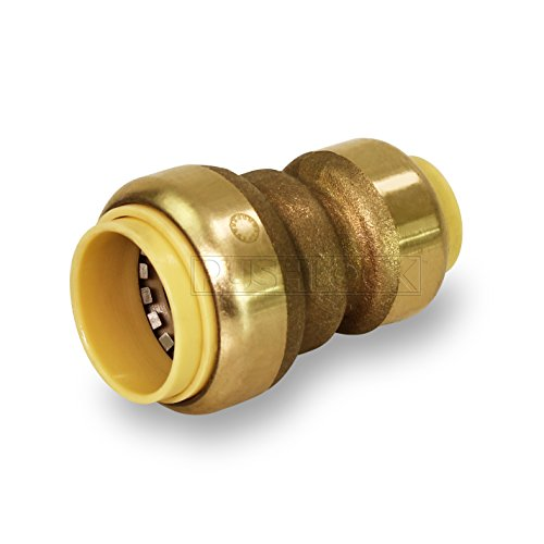 (Pushlock UPSC3412 Adapter Reducing Coupling Pipe Fittings Push to Connect Pex Copper, CPVC, 3/4 x 1/2 Inch, Brass Brass)