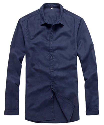 (utcoco Men's Essential Collared Long Sleeve Hemp Button Up Casual Shirts (Medium, Dark Blue))
