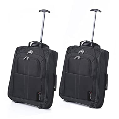 5 Cities The Valencia Collection Hand Luggage 42 Liters, Plain Black Set of 2