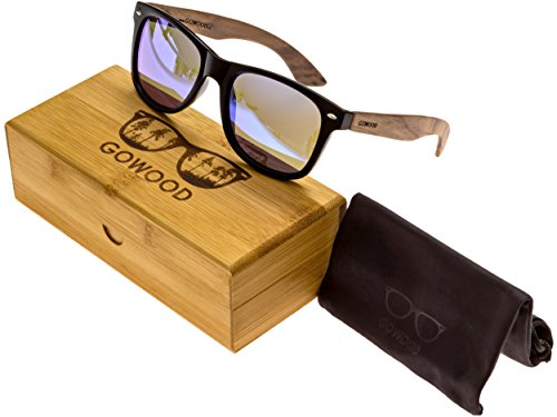 Walnut Wood Wayfarer Sunglasses For Men & Women with Blue Mirrored Polarized - Angeles Los Sunglasses