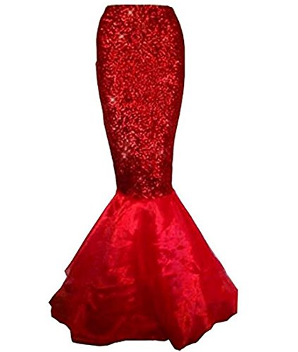 Sexy Women Mermaid Dress, Halloween Costume Fancy Party Glitter Sparkle Sequins Long Tail Skirt (red, S) -