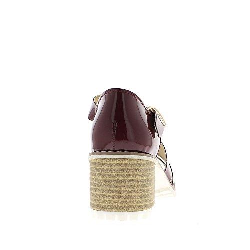 Sandales rouges vernies à gros talon de 6,5cm