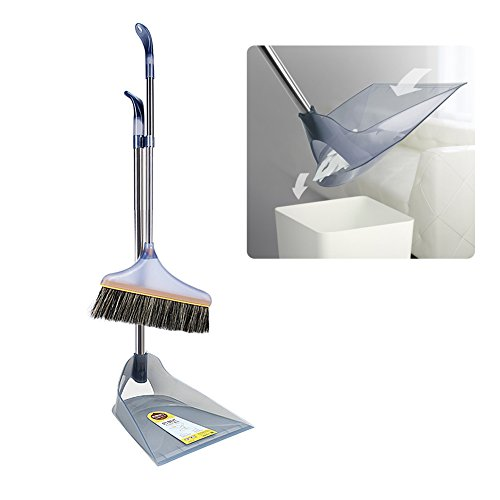 Upright Sweep Set, Nmch Extendable Broom, Inversed Dustpan, Soft Bristle, Environmental Recycle Plastic (Grey) Plastic Janitor Broom