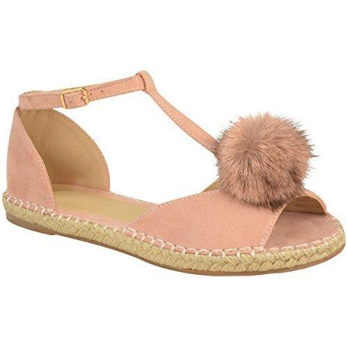 Plano Mujer Alpargatas Sandalias POM POM BOMBAS Tobillo Zapatos De Tiras Talla Rosa Pastel Ante Artificial