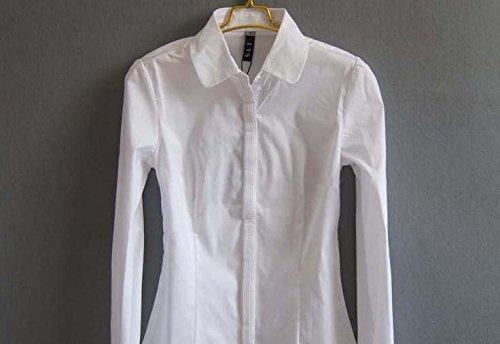 ZAMME Delgado OL de las mujeres del mono remata la blusa con botones camisas clásicas Blanco B