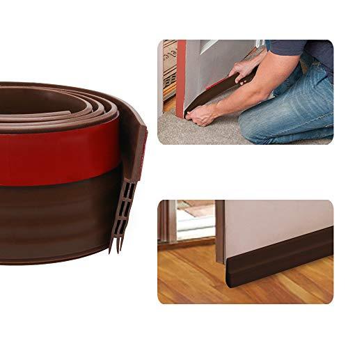 Door Draft Stopper Door Bottom Seal Weather Stripping- BLENDX Under Door Sweep Waterproof Weather Strip Energy & Money Saving, 2 W x 39 L, Brown (Brown)