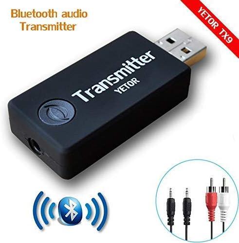 YETOR Transmisor Bluetooth portátil inalámbrico Audio adaptador Bluetooth Transmitter Música Transmisor 3.5mm Adaptador de Audio Estéreo para TV, ordenador, el hogar y sistemas del sonido coches Headset Speakers -jugar en silencio(TX9): Amazon.es: