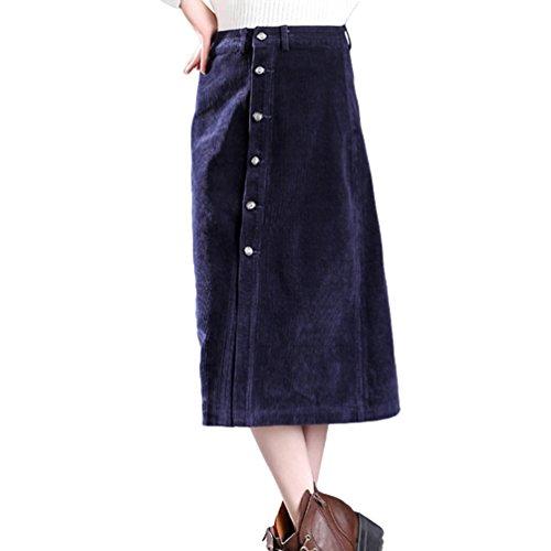 Yuanu Femme Grande Taille Taille Haute Rayures Jupe en Velours C?tel, Simple-Boutonnage Front Divis Loose Jupe Parapluie Bleu