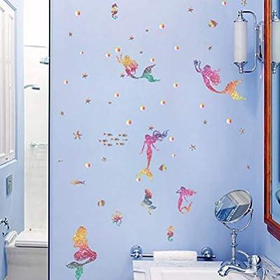 BESPORTBLE Mermaid Wall Decal Mermaid Wall Stickers Sea Animal Wall Stickers Ocean Wall Decals for Bedroom KidsRoom Party Favors: Baby