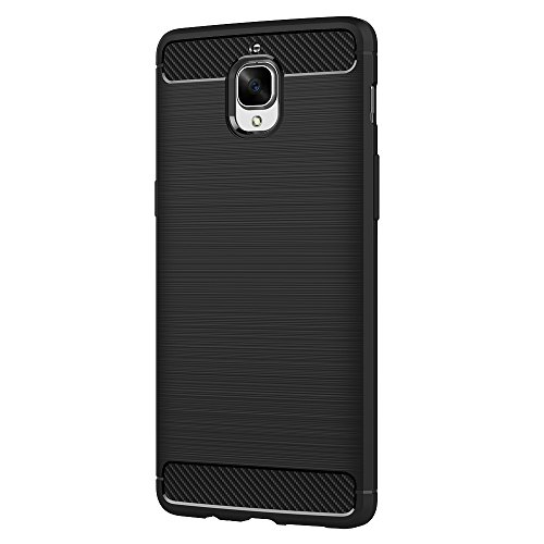 Funda OnePlus 3/OnePlus 3T, AICEK Negro Silicona Fundas para OnePlus 3T Carcasa (5,5 Pulgadas) Fibra de Carbono Funda Case