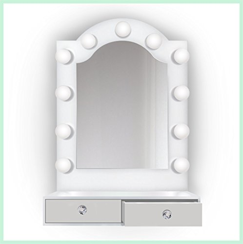 25 inch x 31 inch Lighted Hollywood Arch Vanity Mirror | Makeup Mirror With Storage| Table Top Or Wall Mount | Plug-in by Krugg (Image #4)