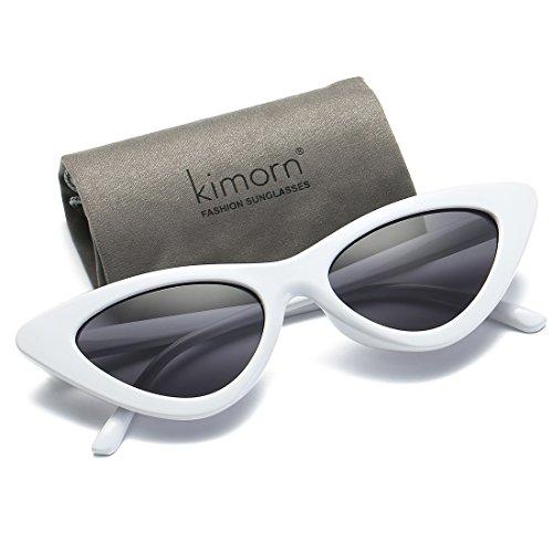 a5b80962e8b09 Kimorn Cat Eye Sunglasses Women Clout Goggles Kurt Cobain Retro Sun Glasses  K0566 (White Black)